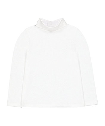 white roll-neck jumper