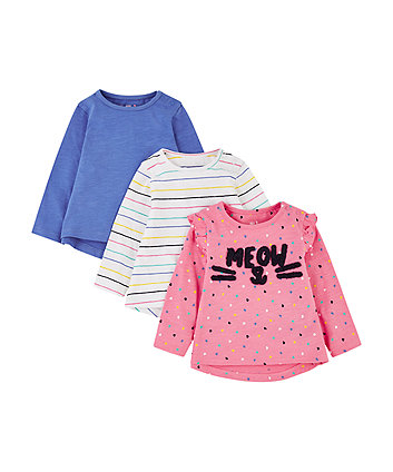 meow heart pink, blue and stripe t-shirts - 3 pack