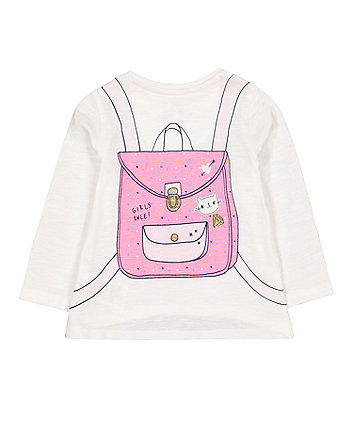 white cute backpack t-shirt
