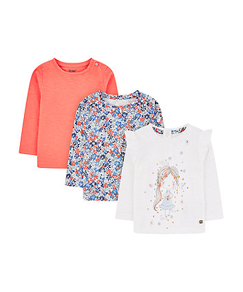 girl, ditsy floral and coral t-shirts - 3 pack