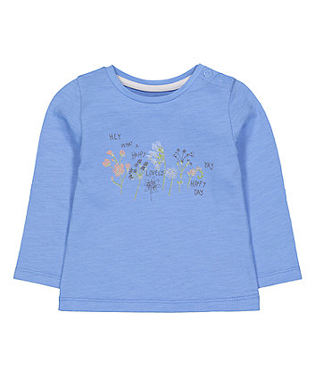 blue floral happy day t-shirt