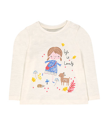 cream girl and woodland animals t-shirt