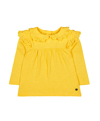 yellow broderie frill blouse