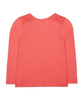 coral crochet t-shirt