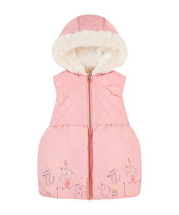 pink circus borg-lined gilet with hood
