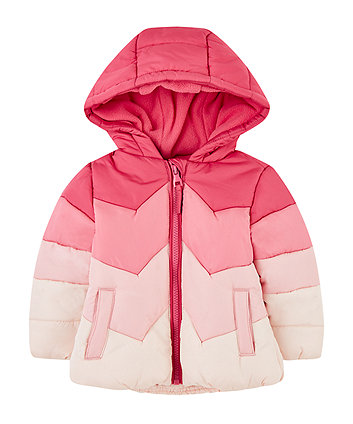 pink chevron fleece-lined jacket