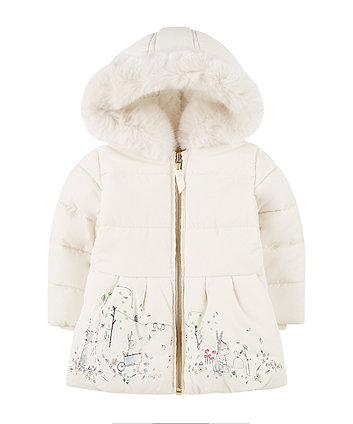 cream padded coat with borg lining