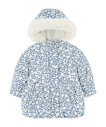 floral padded coat with borg lining