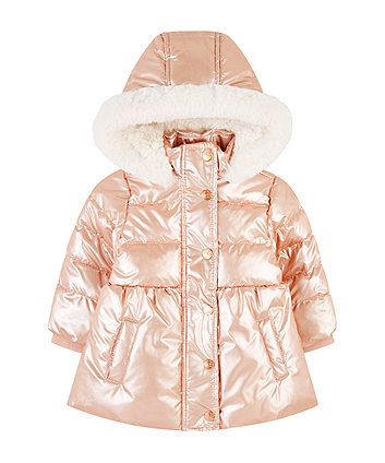 shiny pink padded borg-lined coat