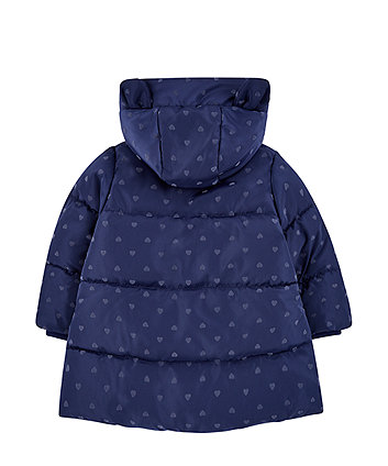 navy heart padded coat with borg lining