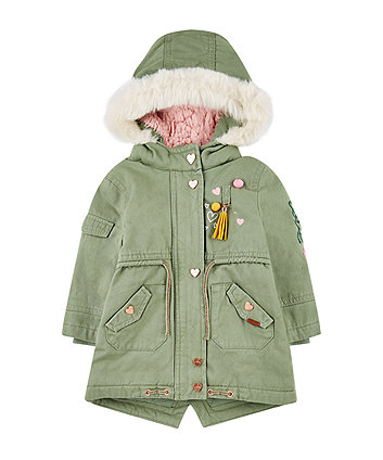 khaki sequin waterproof parka