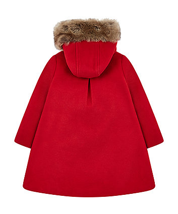 red wool-blend coat with faux fur hood