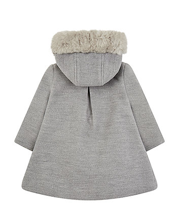 grey coat with faux-fur hood