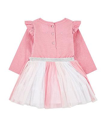 pink glitter stripe frill twofer dress