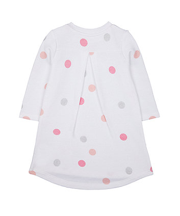 white glitter spot sweat dress