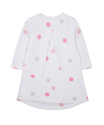 white glitter spot sweat dress