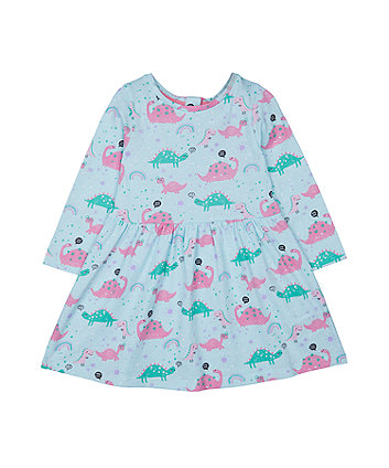 turquoise dinosaur waisted dress