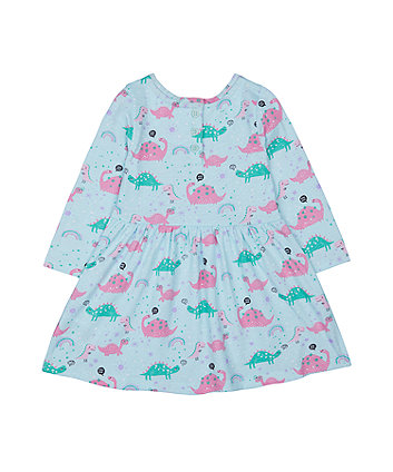 turquoise dinosaur waisted dress
