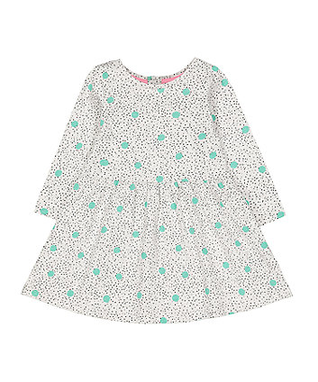 grey and green spot waisted dress