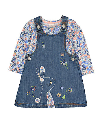 denim bunny pinny and floral t-shirt set