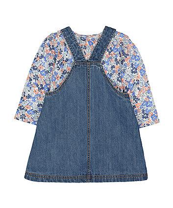 denim bunny pinny and floral t-shirt set