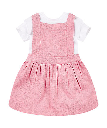 pink cord pinny dress and t-shirt set
