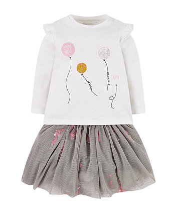 white balloon t-shirt and grey tutu skirt set
