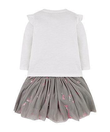 white balloon t-shirt and grey tutu skirt set