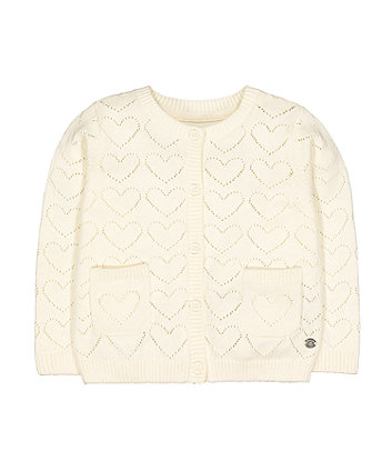 cream heart pointelle knit cardigan