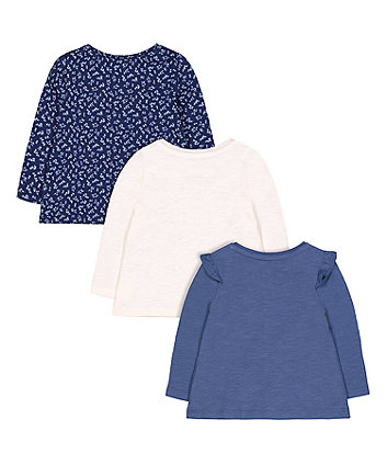 blue, cream and ditsy floral t-shirts - 3 pack