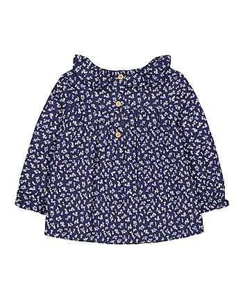 blue floral smock blouse