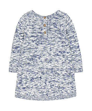 blue twisted-yarn knit dress