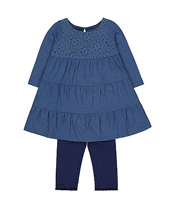 blue broderie tiered dress and navy leggings set