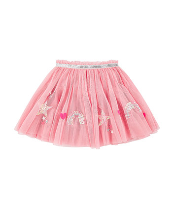 pink sequin rainbow and stars mesh tutu