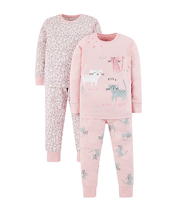 pink cat and leopard print pyjamas - 2 pack