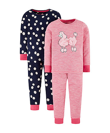 spot and poodle pyjamas - 2 pack