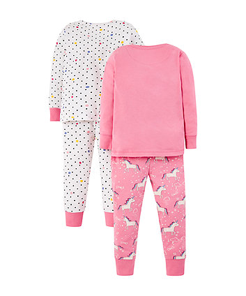 glitter party horses pyjamas - 2 pack
