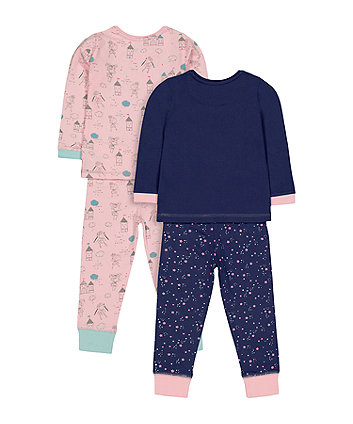 pink and navy princess castle pyjamas - 2 pack