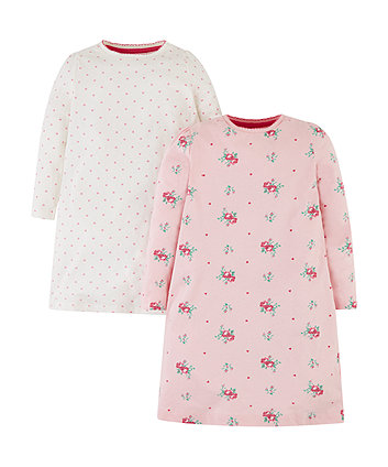 pink floral nightdresses - 2 pack