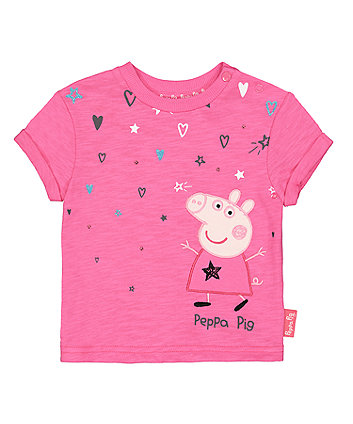 peppa pig pink applique t-shirt