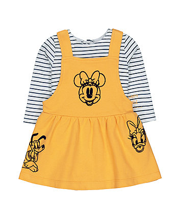 Disney minnie mouse yellow pinny dress and stripe t-shirt set