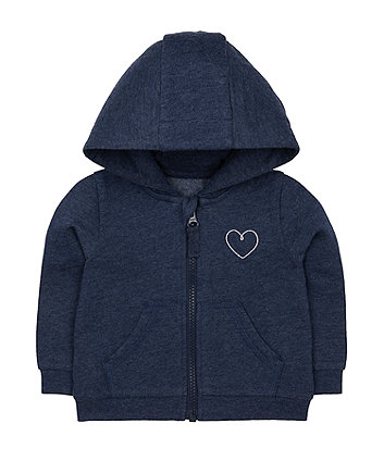 navy silver heart zip-through hoodie