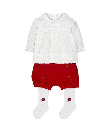 white polka dot blouse, red shorts and tights set