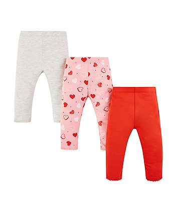 grey, red and pink heart leggings - 3 pack