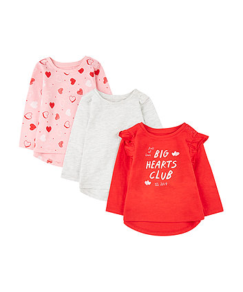 big hearts club red, grey and pink t-shirts - 3 pack