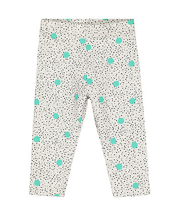 grey and mint polka dot leggings