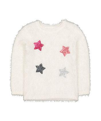cream sequin stars eyelash jumper
