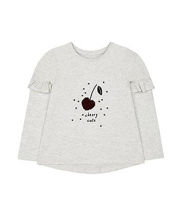 grey marl sequin cherry t-shirt