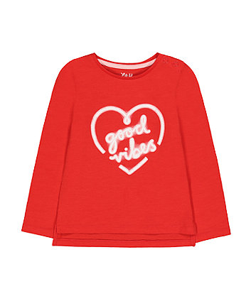 red good vibes heart t-shirt