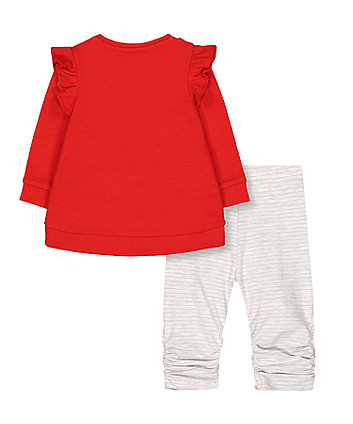red you go girl sweat top and stripe leggings set